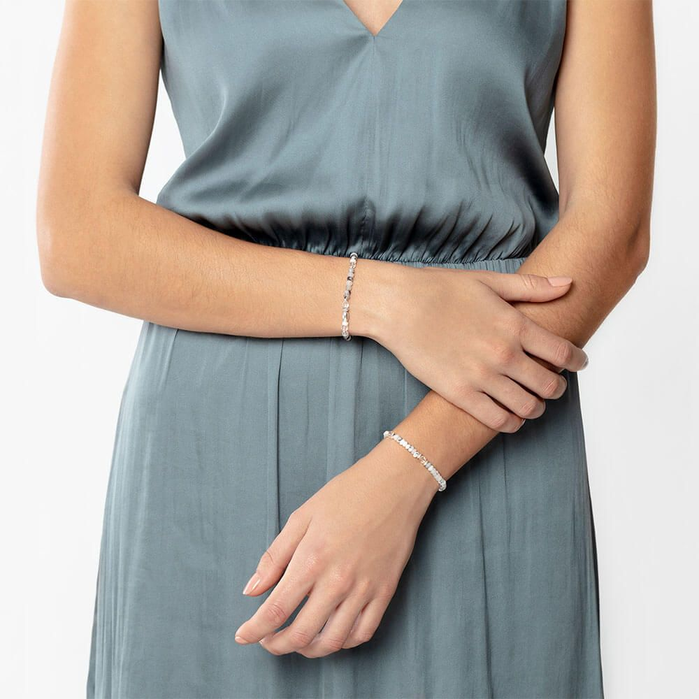 Tourmalinated quartz and crystal quartz bracelet