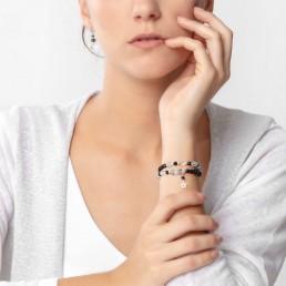 tourmalinated quartz double bracelet