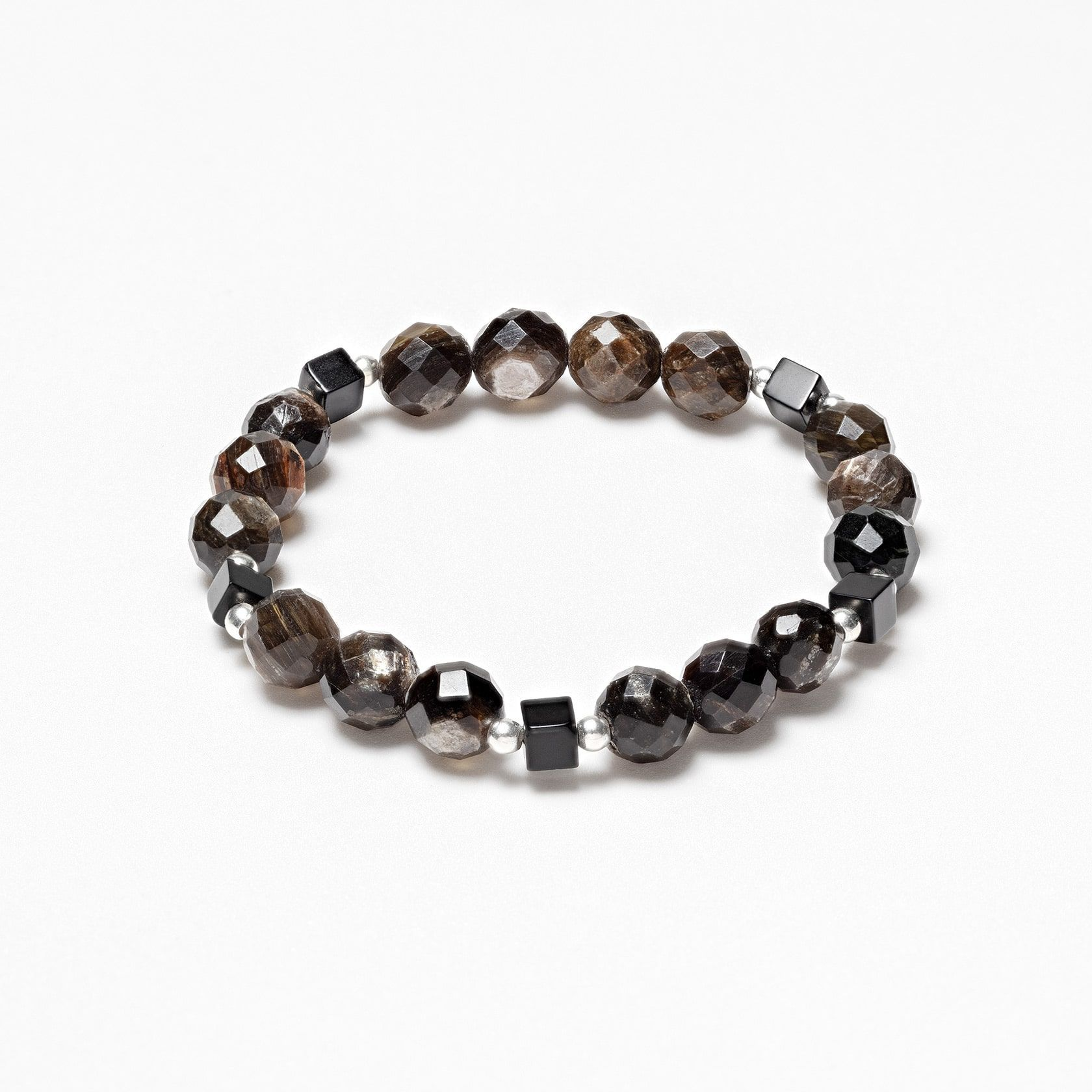 Elastic bracelet of onyx and moscovite