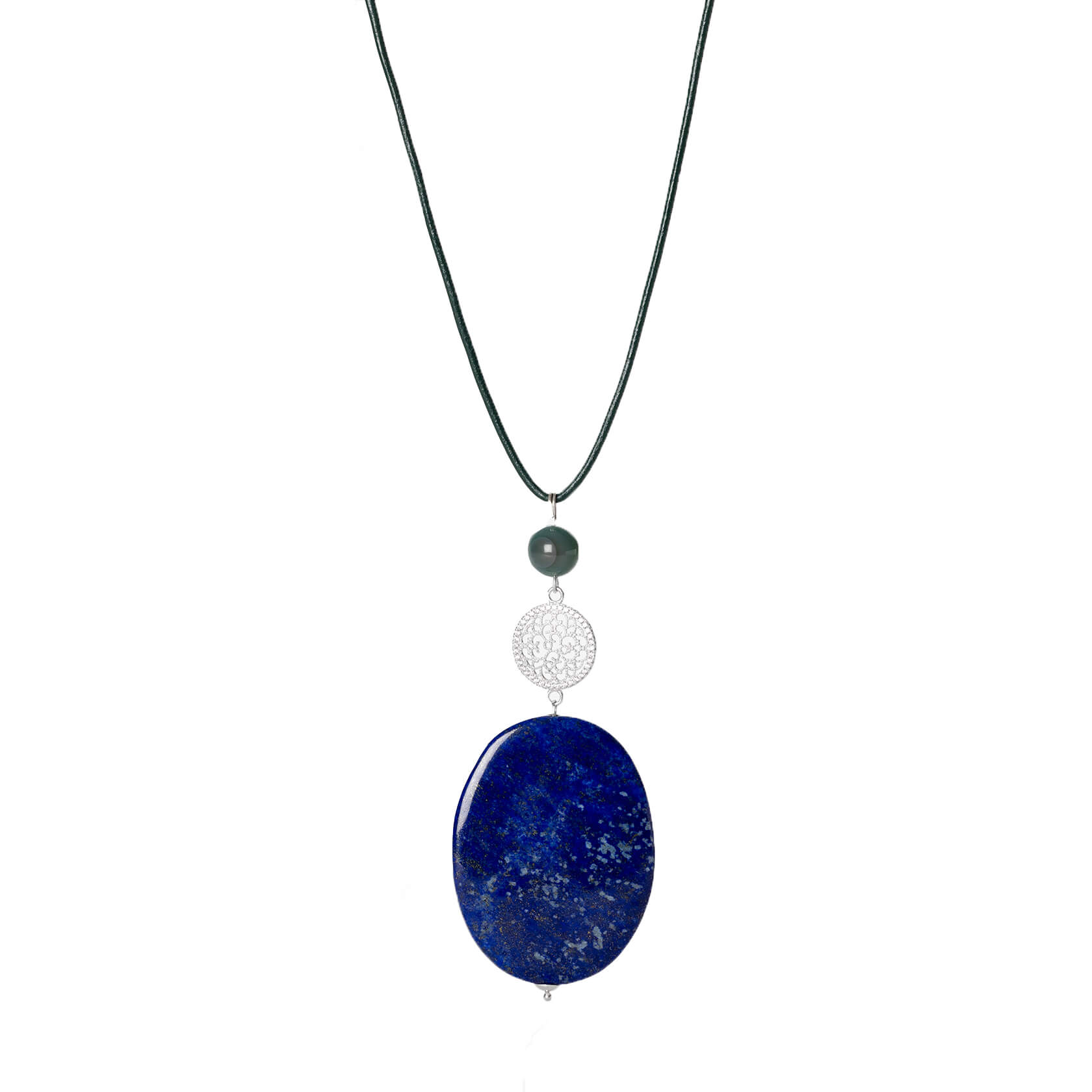 Lapis and agate pendant
