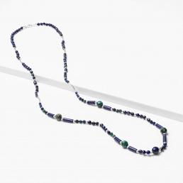 Collar largo de lapislázuli y azurita