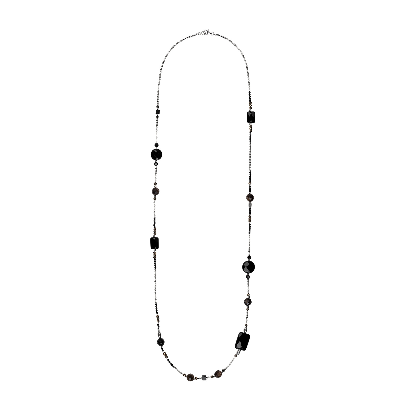 Muscovite and pyrite long necklace
