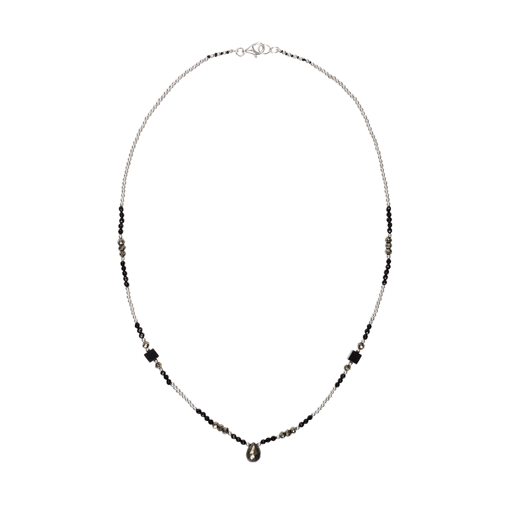 Muscovite and onyx short necklace