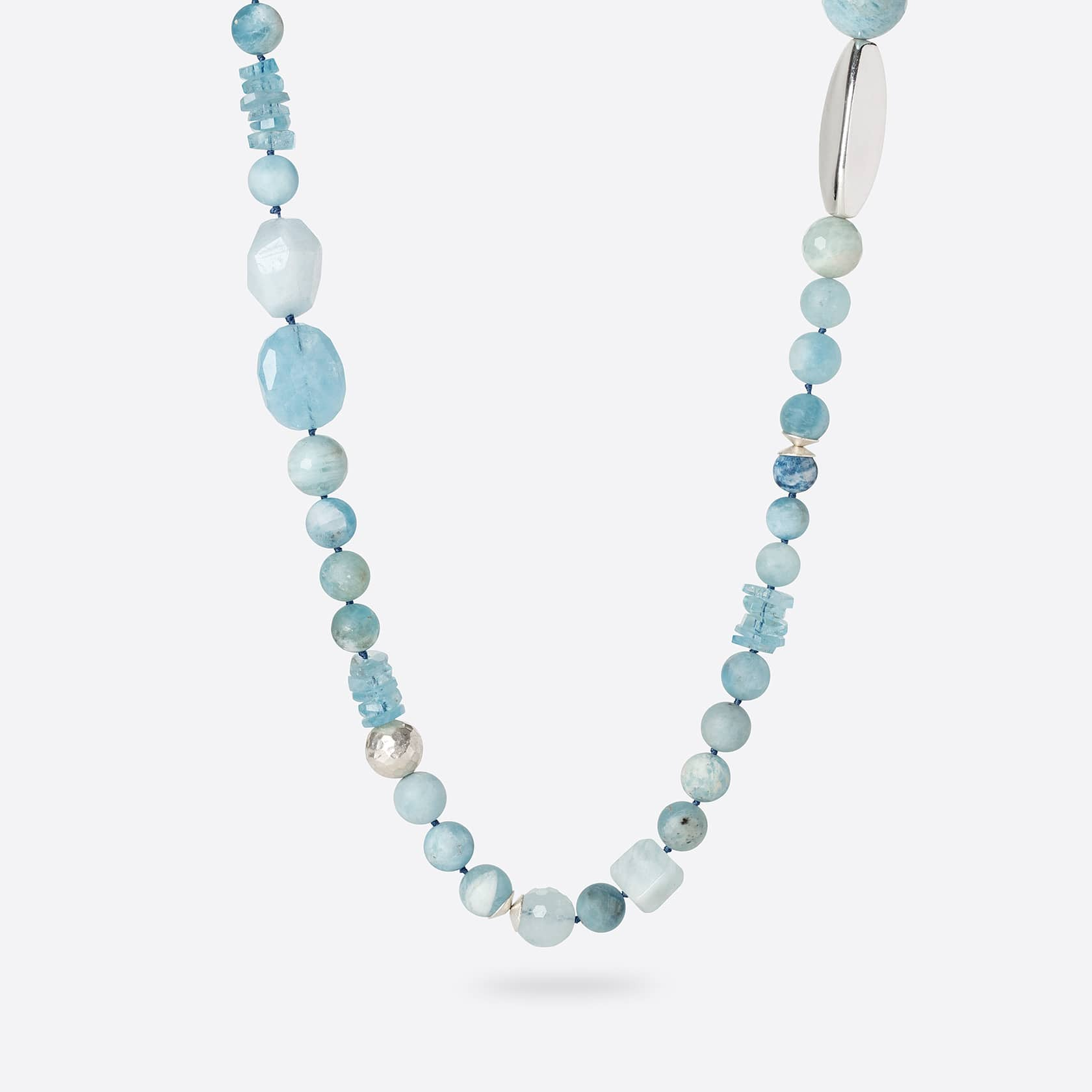 Irregular aquamarine necklace