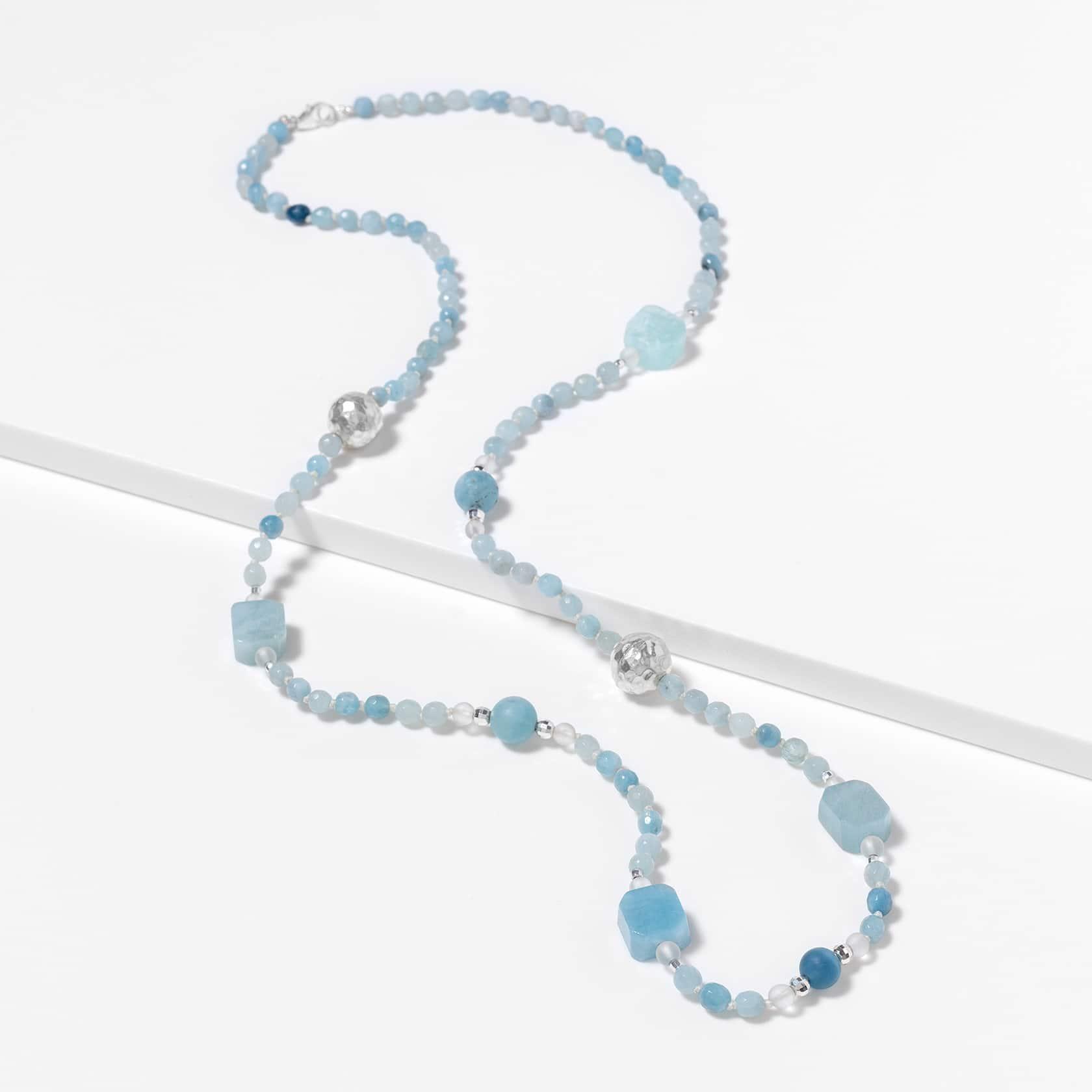 aquamarine long necklace silver