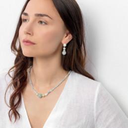 Kara aquamarine short necklace with silver