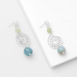 aquamarine large shell earrings