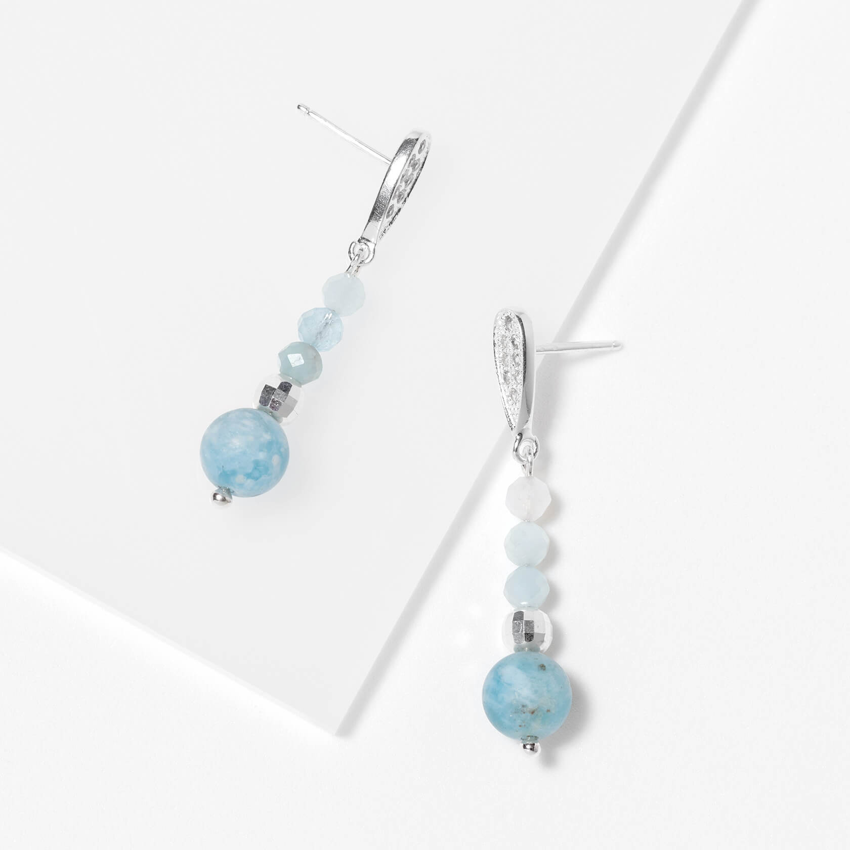 Aquamarine earrings and white zircons