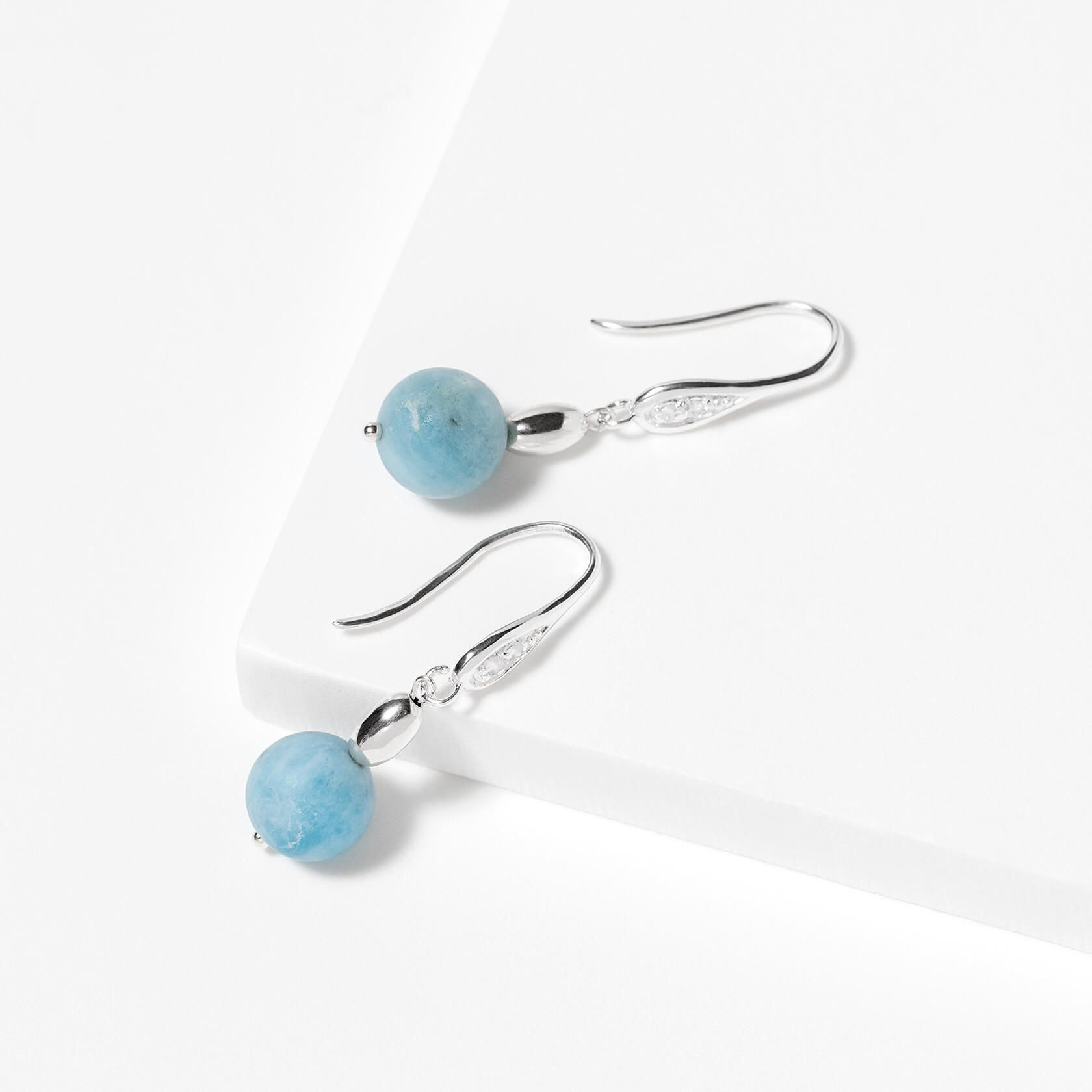 Aquamarine and zircons earrings