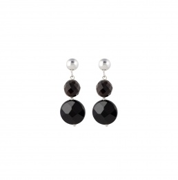 Muscovite and onyx earrings