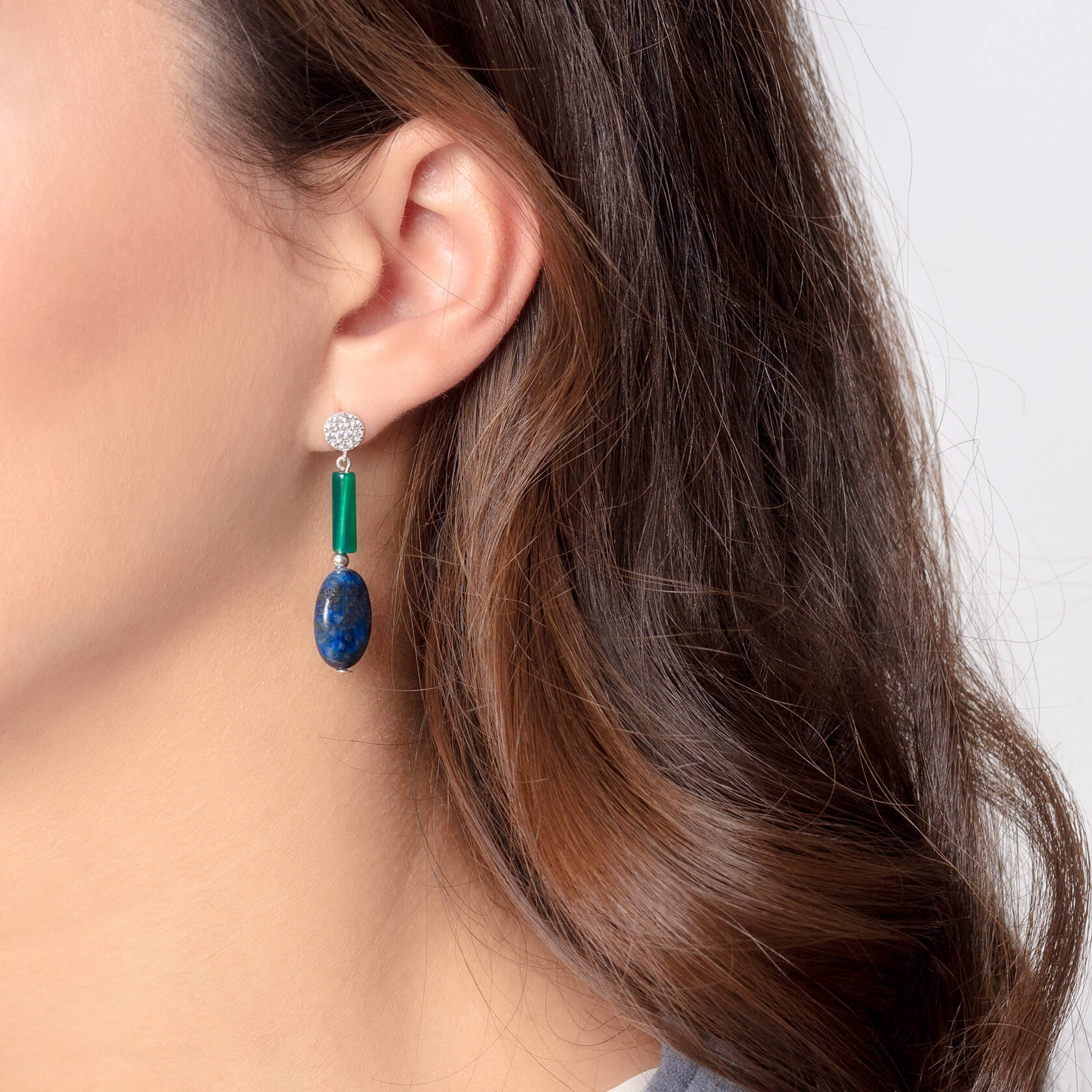 Lapis and green agate earrings marybola