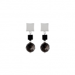 Muscovite and onyx small earrings