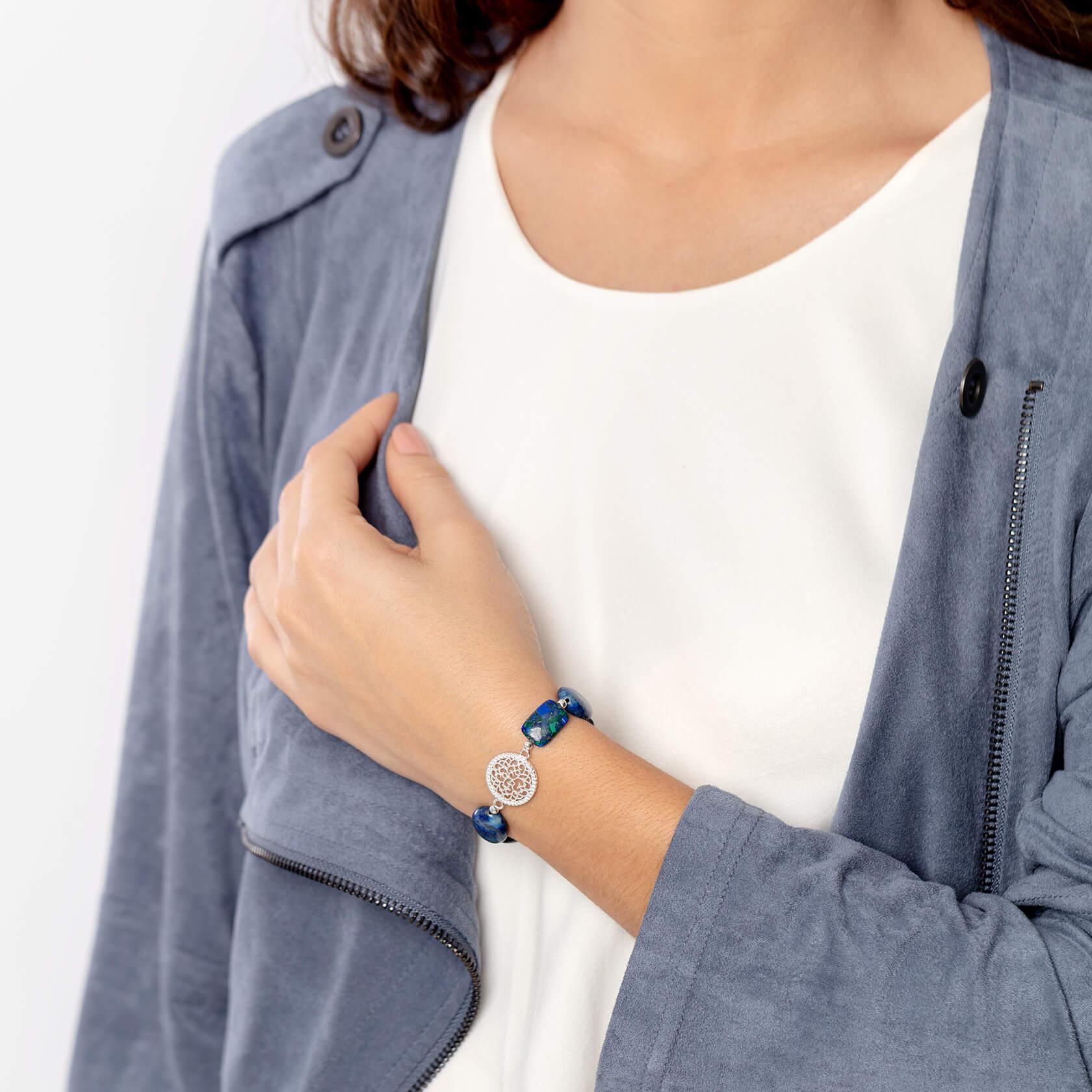 Mandala bracelet with lapis marybola