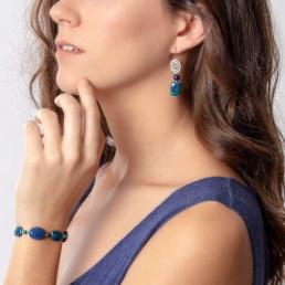 Azurite and lapis elastic bracelet