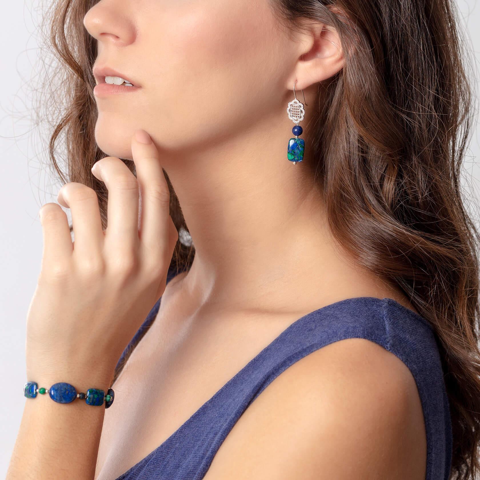 Pulsera elastica de lapislázuli y azurita