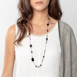 Onyx and pyrite long necklace