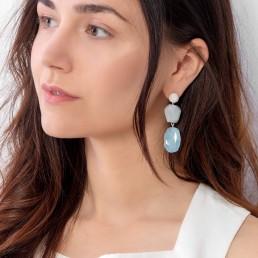 aquamarine earrings with geometric shapes