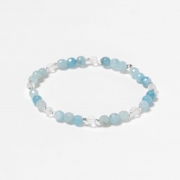 aquamarine and crystal quartz bracelet