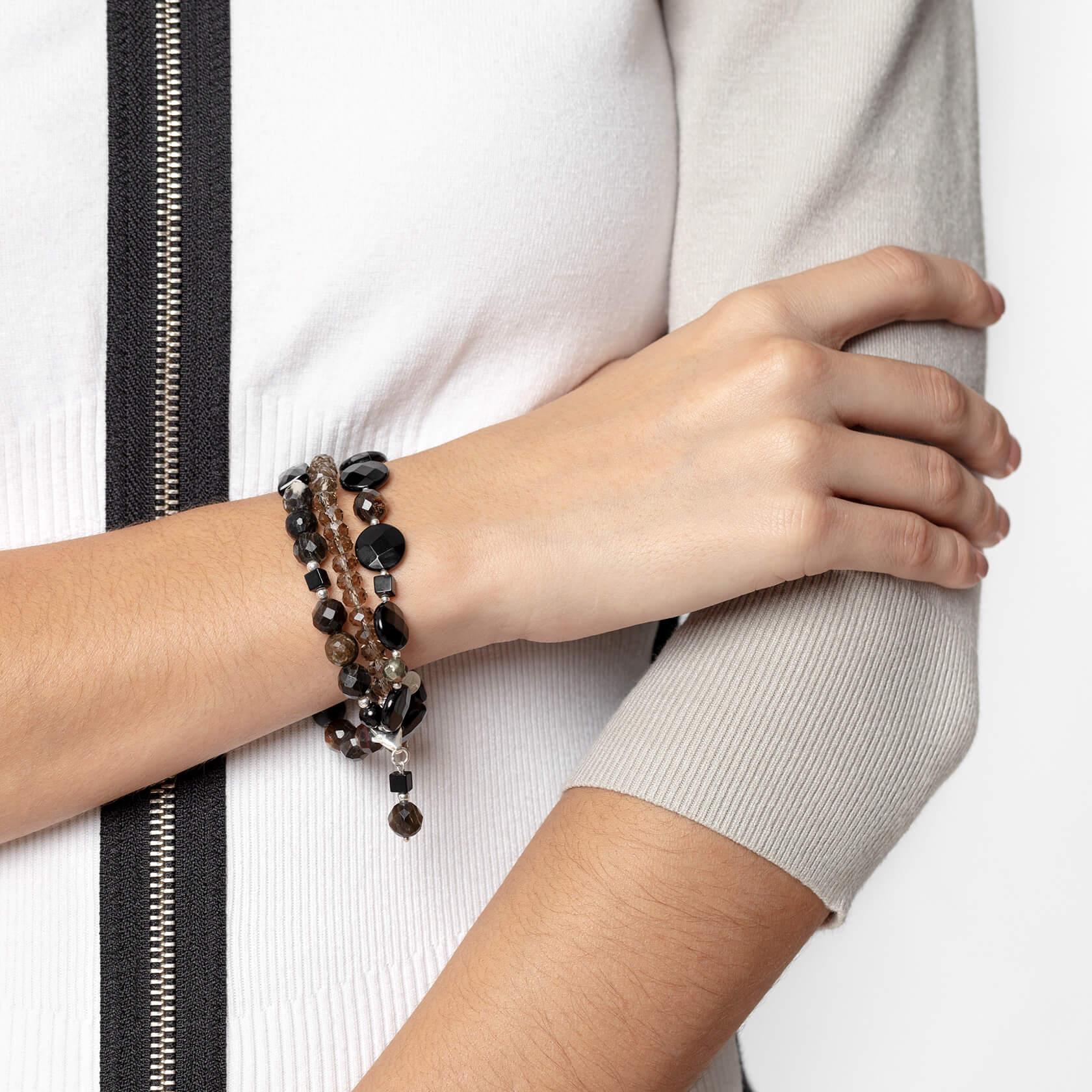 Onyx and muscovite triple bracelet