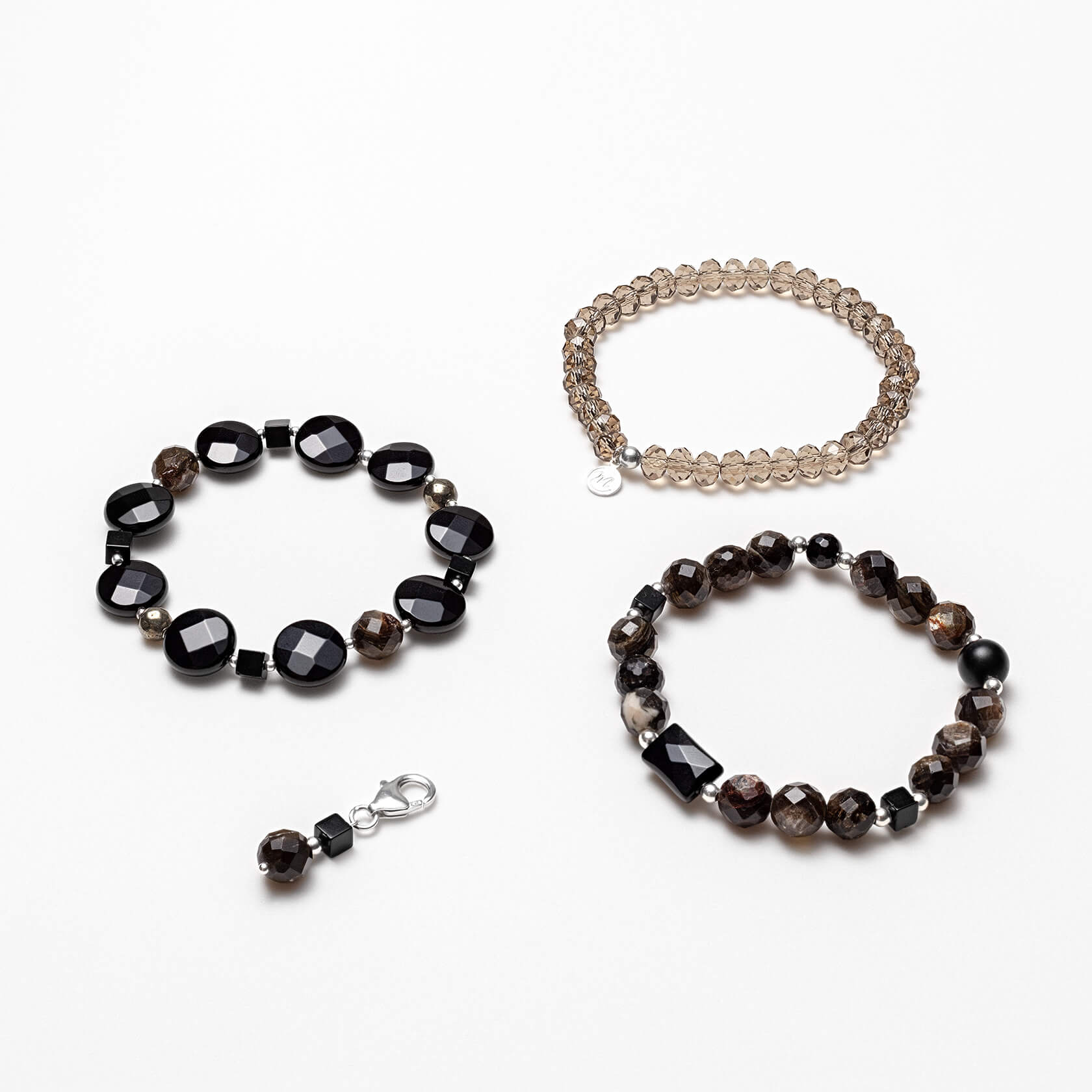 Muscovite and onyx triple bracelet