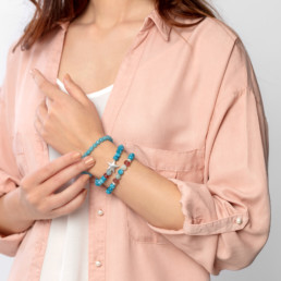 pulsera cuarzo azul aguamarina