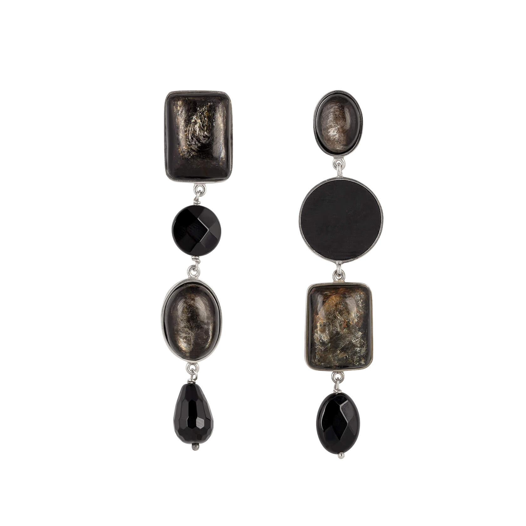 Shungite and onyx earring