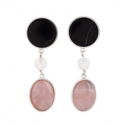 Pendientes cuarzo rosa y cuarzo cristal