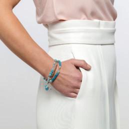 pulsera triple cuarzo azul
