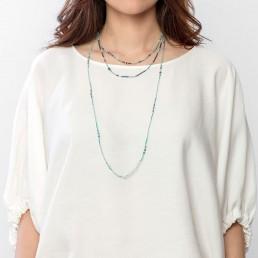 Amazonite and iolite long necklace marybola