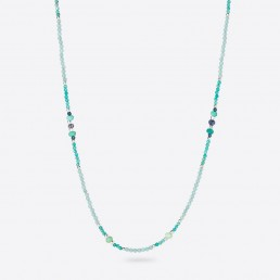 Iolite and amazonite long necklace
