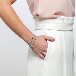 angelite and aquamarine capri bracelet with silver