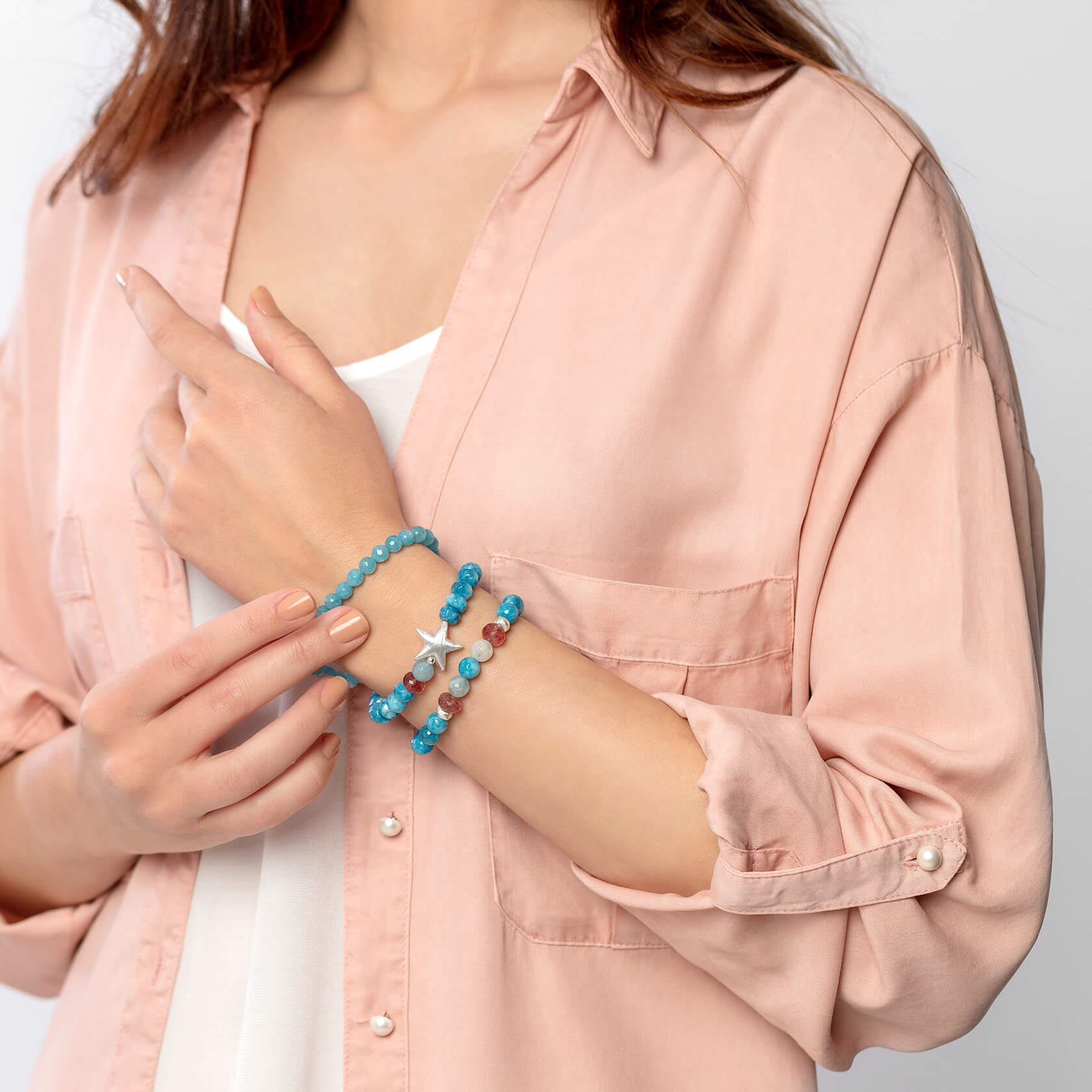 Donuth blue Capri bracelet with silver