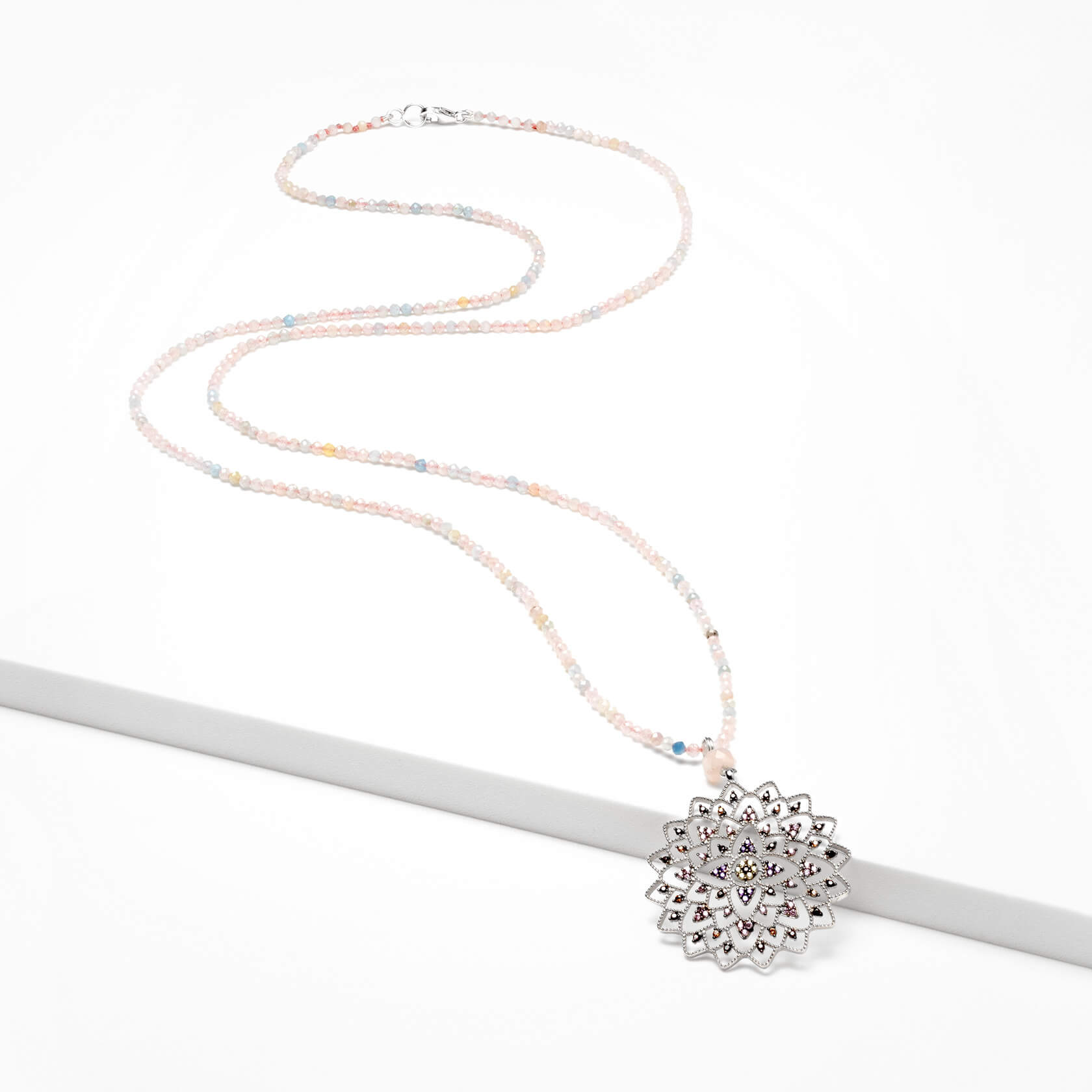 mandala long necklace with silver