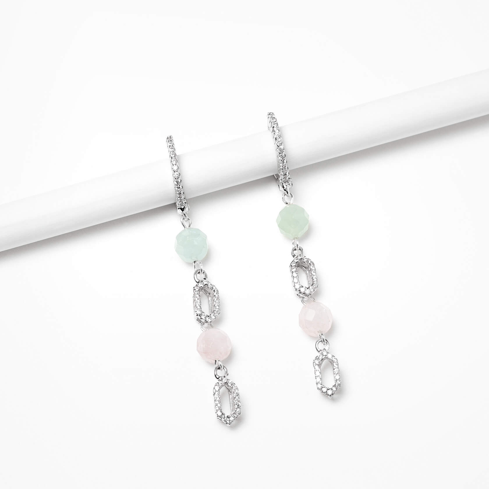 Hexagonal aquamarine earrings