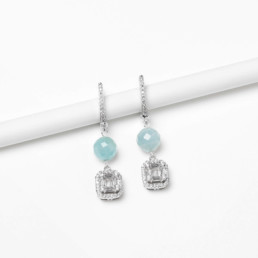 Square aquamarine nube earrings