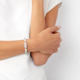 Nube aquamarine and morganite bracelet
