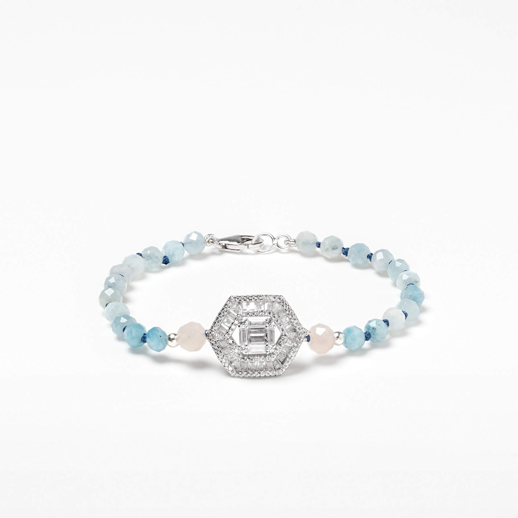Hexagonal aquamarine bracelet