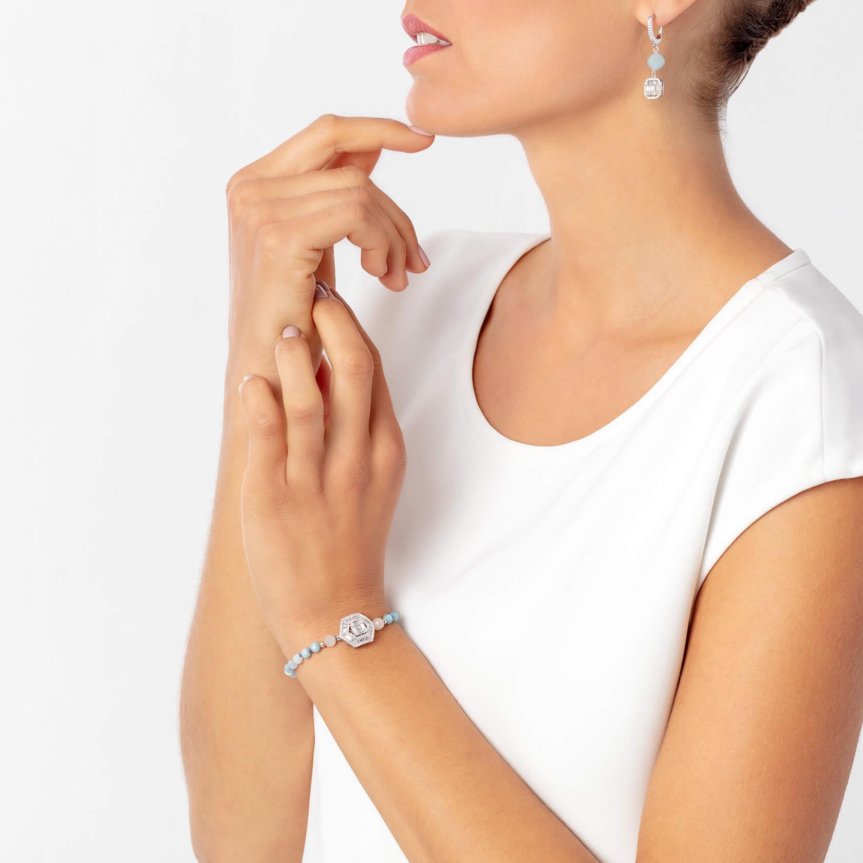 Hexagonal aquamarine bracelet | Marybola