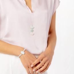 Aquamarine and morganite bracelet