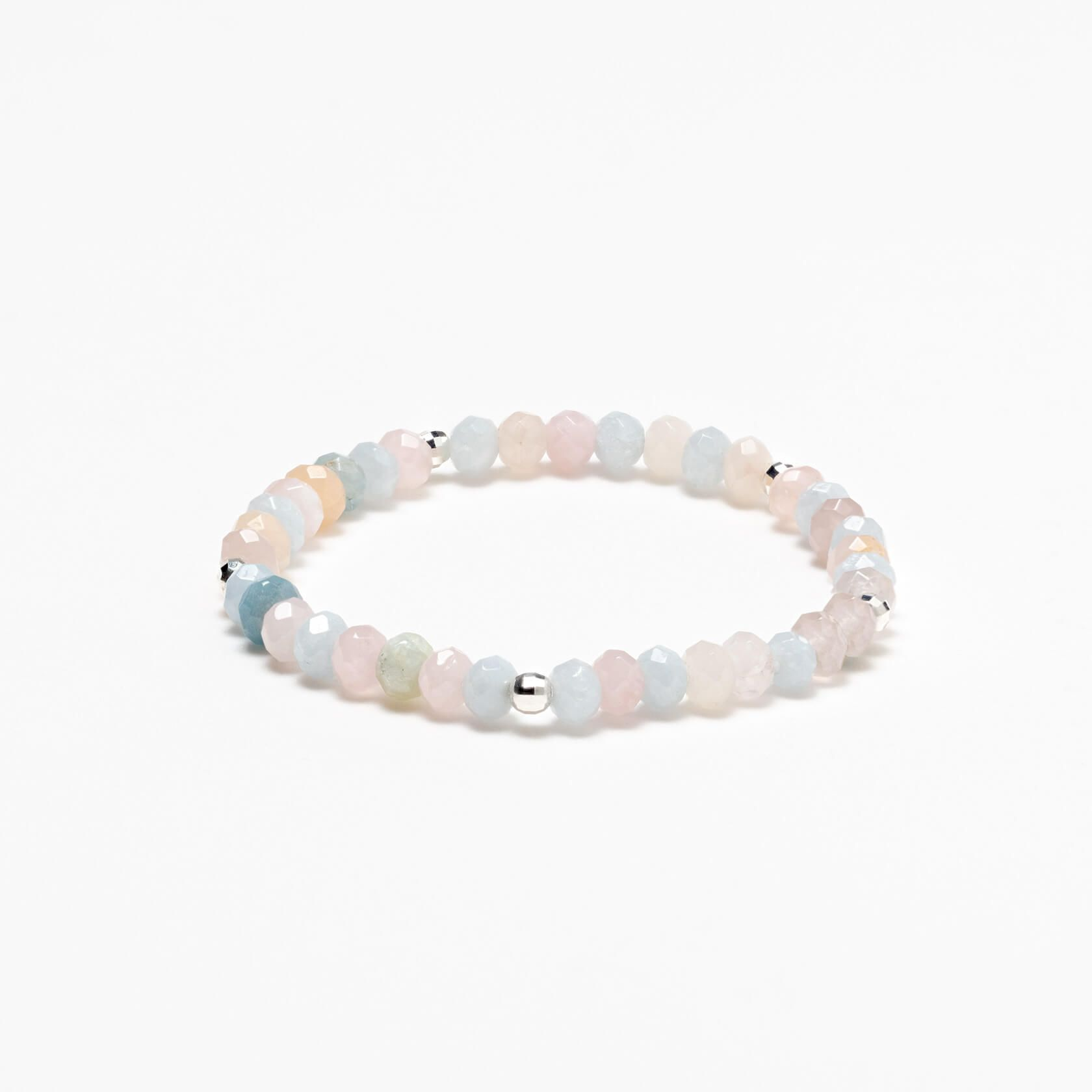Aquamarine and morganite silver 925 bracelet