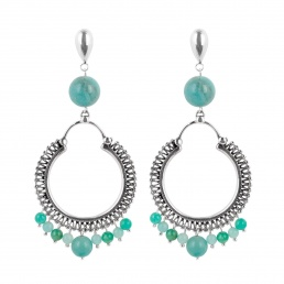 Hoop amazonite earrings