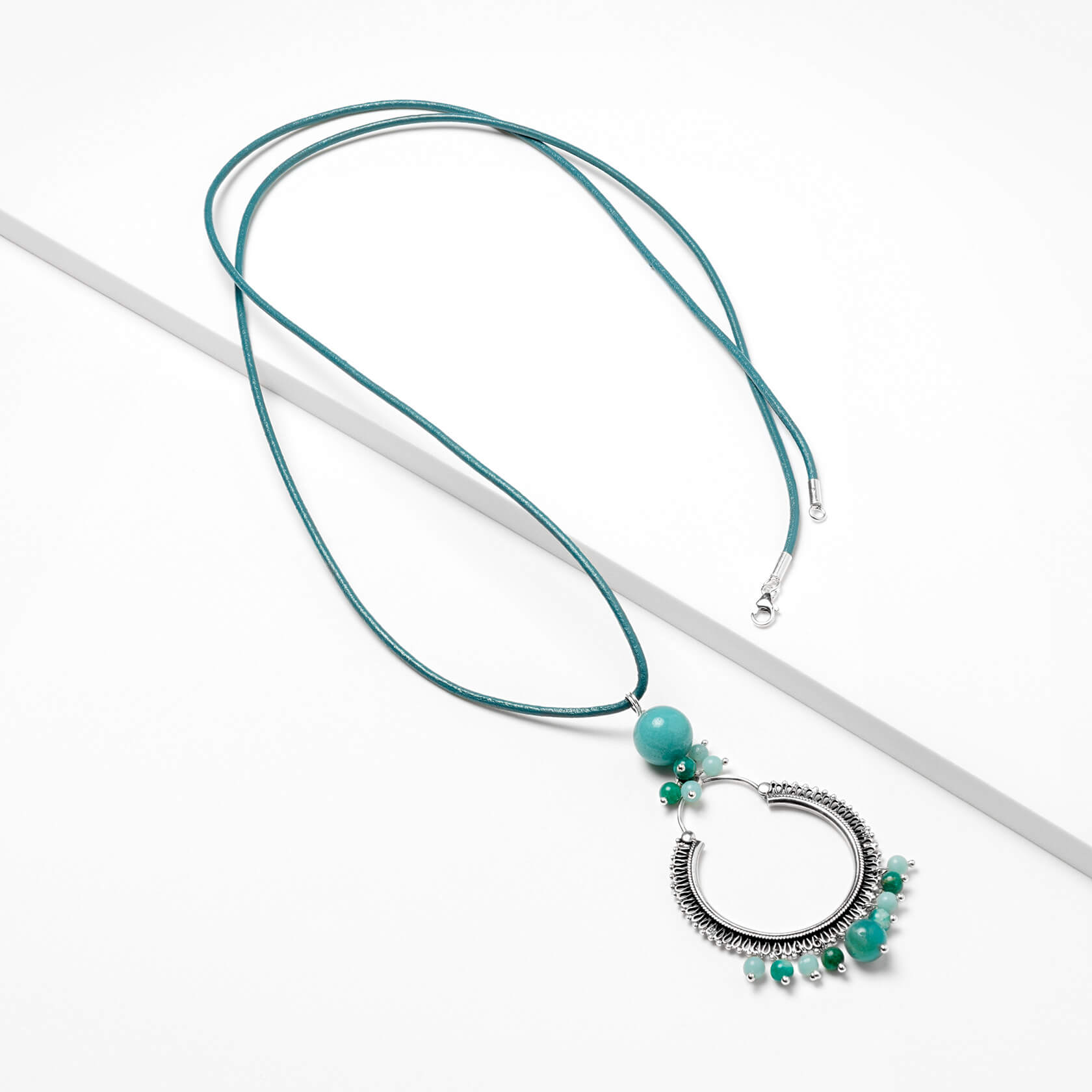 Amazonite long necklace with leather marybola
