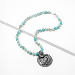 Solar mandala amazonite short necklace