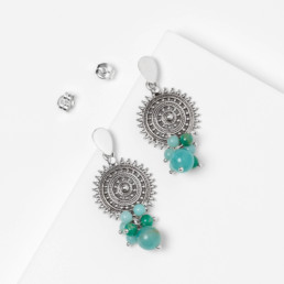 Amazonite earrings with sun shape mandala