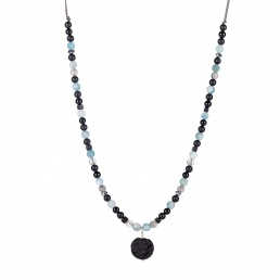 Unisex lava and onyx necklace