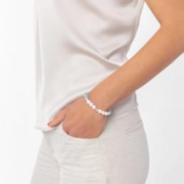 Aquamarine and quartz elastic bracelet