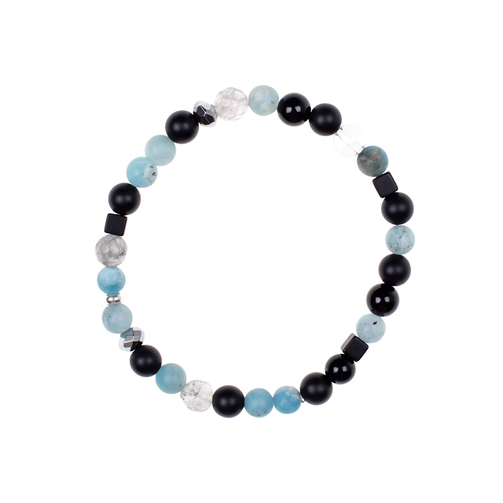 Quartz and aquamarine unisex bracelet