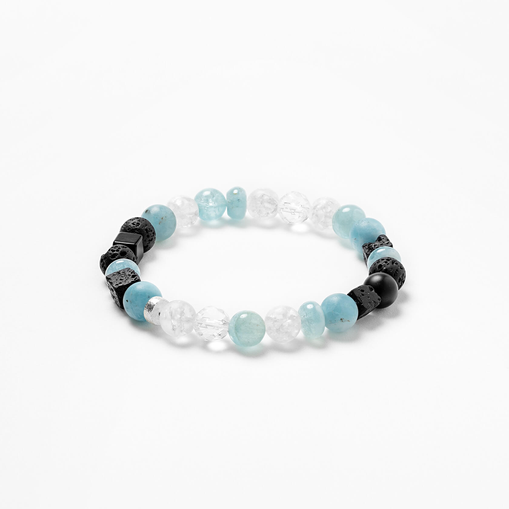 Unisex bracelet made of aquamarine and quartz marybola