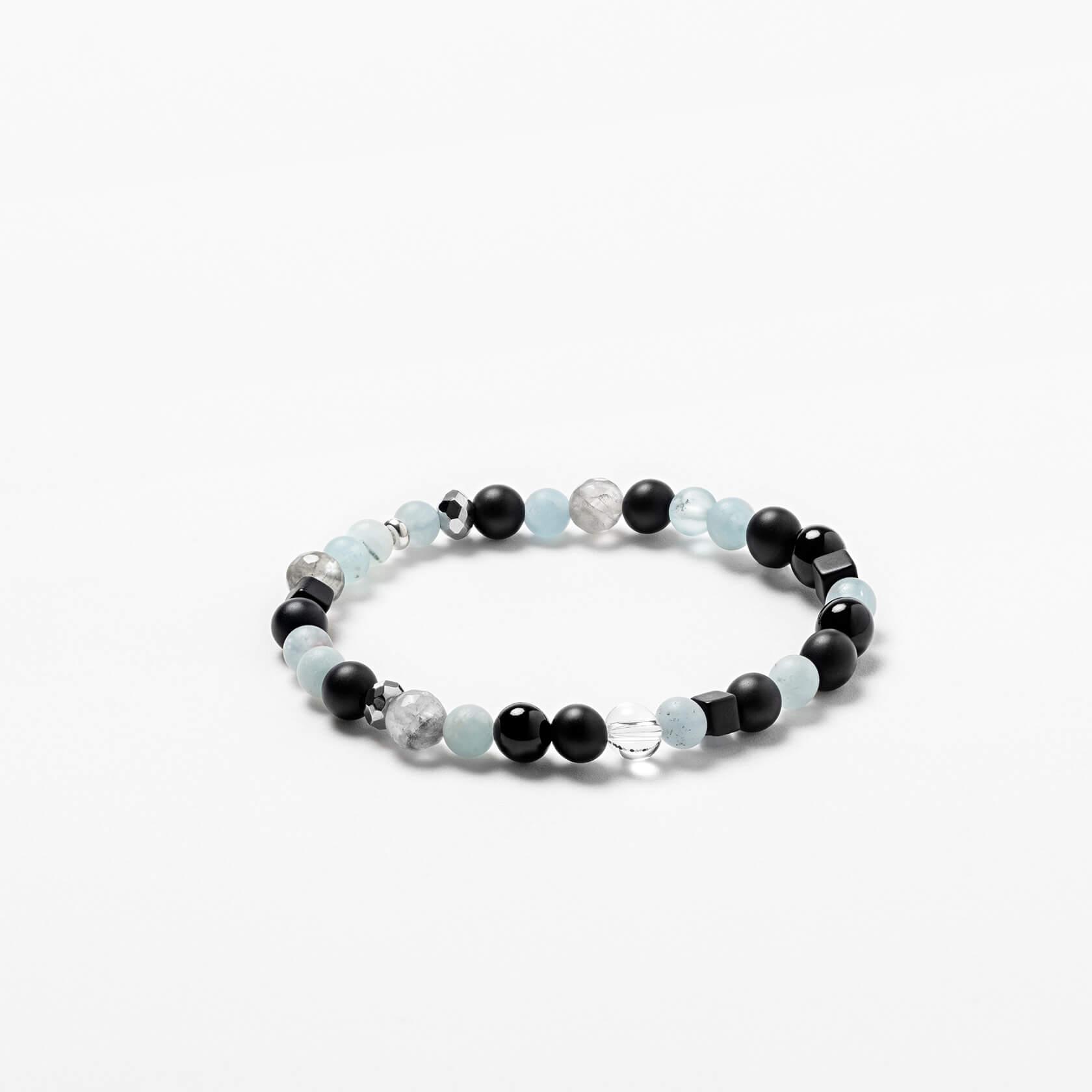 Unisex bracelet of aquamarine and quartz