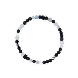 Quartz and aquamarine genderless bracelet